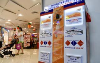 Норвежский вендинговый лосось в Сингапуре 2.0